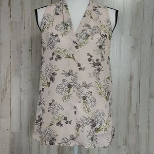 Vince Camuto Pink Floral Sheer Sleeveless Blouse